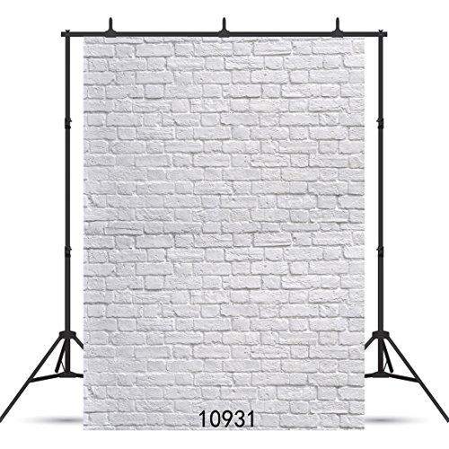 SJOLOON 5X7ft White Brick Wall Backdrop White Brick Photo Backdrop Thin Vinyl Photography Backdrop Background Studio Prop 10931