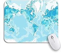 ROSECNY 可愛いマウスパッド ノートパソコン、マウスマット用の青のノンスリップラバーバッキングマウスパッドの色を中心とした物理的な世界地図アメリカ