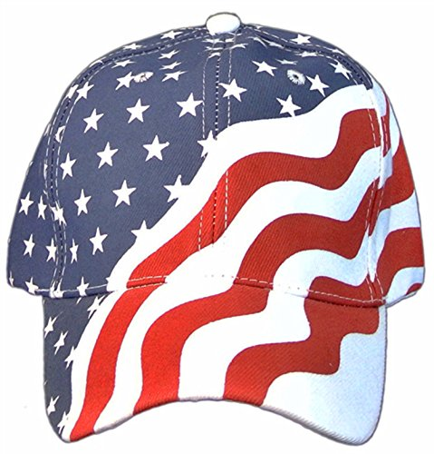 American Flag Patriotic Flag Baseball Cap/ Hat in Red, White and Navy Blue Stars and Wavy Stripes,OS, Red/White/Blue, One Size