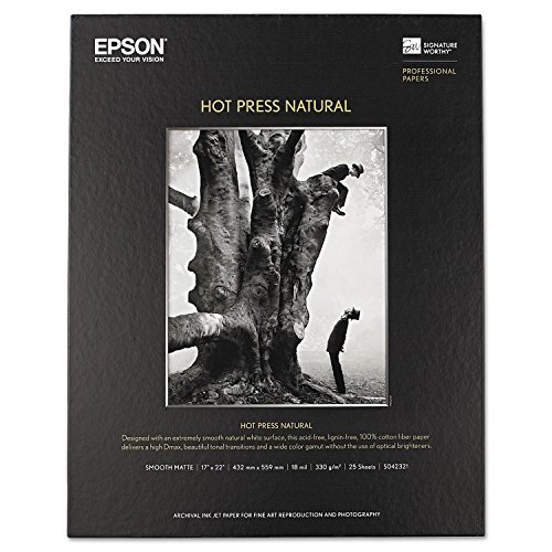 """Epson Hot Press Natural Smooth Matte Paper 17 x 22"""" (25 Sheets)"""