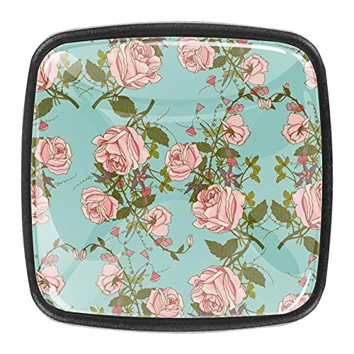 Pomos florales románticos para cajones de aparador, juego de tiradores de cajones de 1.18 pulgadas para armarios de cocina, aparador, armario, tiradores de 4 piezas