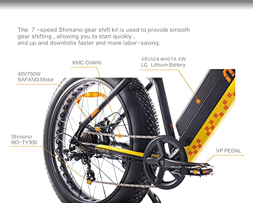 MZZK 500W/750W Motor Electric Mountain Bike for Adult Fat Tire Electric Bicycle with 48V 12.8Ah Removable Battery Shimano 7-Speed Powerful Ebike Pedal Assist