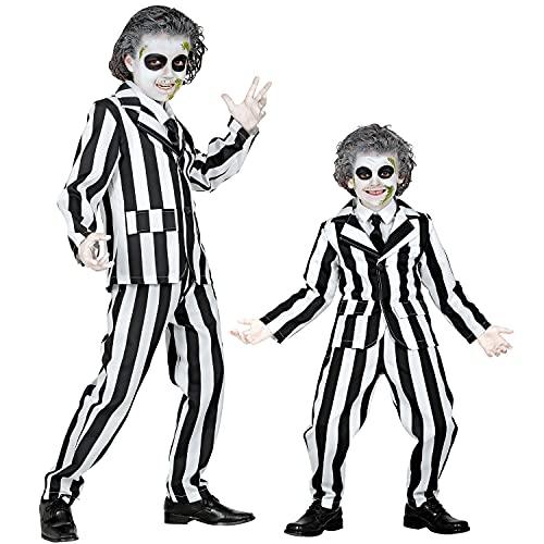 Widmann - Costume per bambini Sleazy Ghost, giacca, pantaloni e cravatta, joker, fantasma, fantasma, psichico, killer, costume, travestimento, feste a tema, carnevale, Halloween