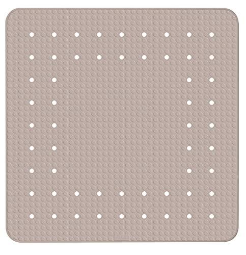 WENKO Duscheinlage Mirasol, Duschmatte, Badewanneneinlage, Anti Rutsch Matte, Quadratisch, Grau, 54 x 54 cm