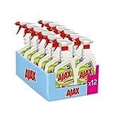 AJAX, Spray Con Candeggina 2 in 1: Igienizza, Pulisce e Sbianca, 100% Efficacia e Brillantezza, Agente Antibatterico - 12 Flaconi Da 750 ml