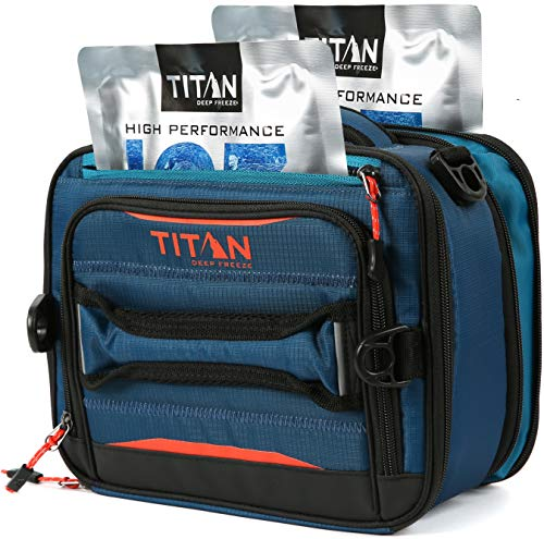 Arctic Zone Titan Deep Freeze Fridge Cold Expandable Insulated Horizontal Lunch Pack with 2X 250g High Performance Ice Walls, Blue