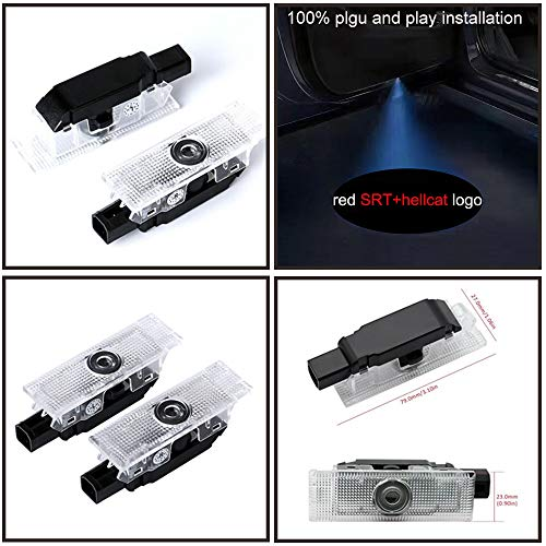 2x Car door LED Puddle Projector Ghost Laser logo light For Dodge Challenger Hellcat, R/T, Scat Pack and Demon with no fading color glass slides