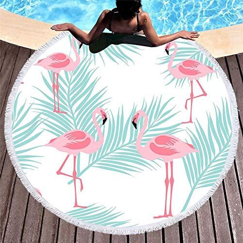 Vanzelu Sanddichtes, Sandfreies Strandtuch, Rund Mit Quastenprint, Flamingo-Serie