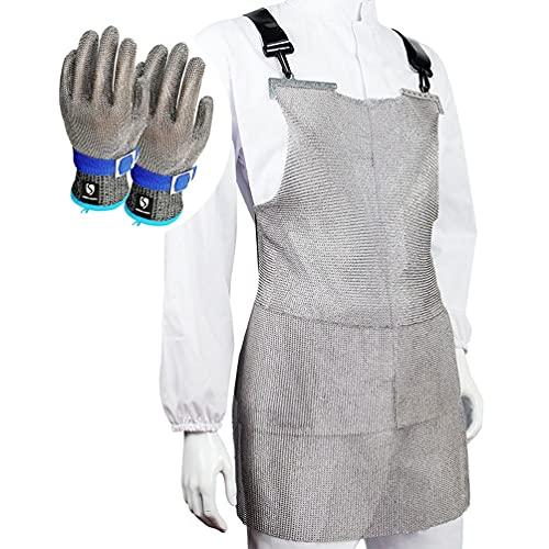 delantal Conjunto Guantes De Acero Inoxidable De Acero, Metal con Correas De Hombro Ajustables, For Carnicero Carpintero Portero (Color : Gloves-XS, Size : 55X60cm)