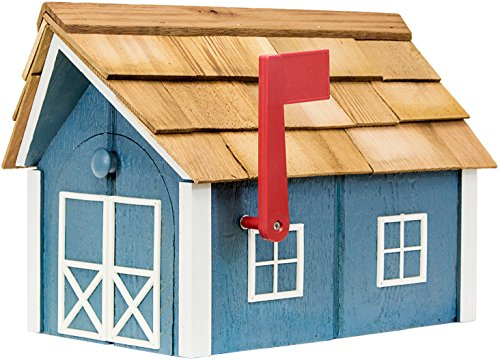 Painted Amish Mailbox with Cedar Roof and Windows & Door Trim (Wedgewood Blue with White Trim)