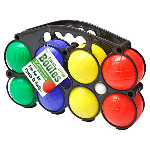 Parkland® Colourful Plastic French Boules Set Pétanque Balls Outdoor Garden Lawn Game with Carry Case