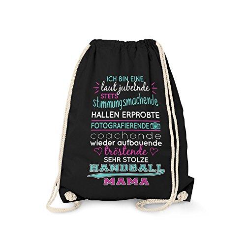 Fashionalarm Turnbeutel - Ich Bin eine stolze Handball Mama   Fun Rucksack mit Spruch als Geschenk Idee Spieler Mutti Mutter Kinder Sport Verein, Farbe:schwarz