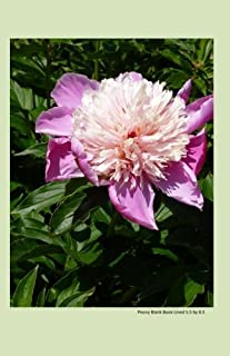 Peony Blank Book Lined 5.5 by 8.5: 5.5 by 8.5 inch 100 page lined blank book suitable as a journal, notebook or diary with...