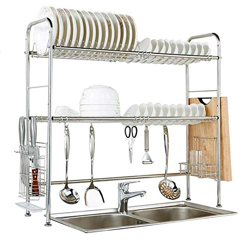 LLDKA 304 roestvrijstalen afdruiprek gootsteen en laag 2 frame, keuken plank opslag rack levert het zwembad zet schotelrek te drogen