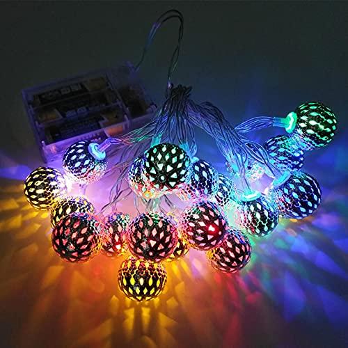 SJHP 2 Pcs Cadena de Luces Marroquí Cadena de Luz LED Bateria Cargada IP65 Resistente al Agua para Patio Navidad Jardín Veranda Terraza Interiores y Bodas