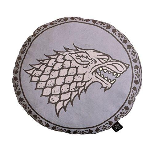Cojín redondo con relleno de 45x45. De color gris con el lobo huargo, escudo de la casa Stark