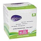 UNYQUE Tampones Algodon Puro 100% con Aplicador - Previene Irritaciones Hipoalergénicos Extra Suaves y Seguros – Tamaño Mini – Apto Pieles Sensibles - 16 Unidades