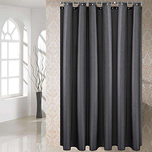 Duschvorhang Anti-Schimmel & Wasserdicht Polyester Textil Duschvorhang für Badewannen mit Haken Dunkelgrau 120x180cm