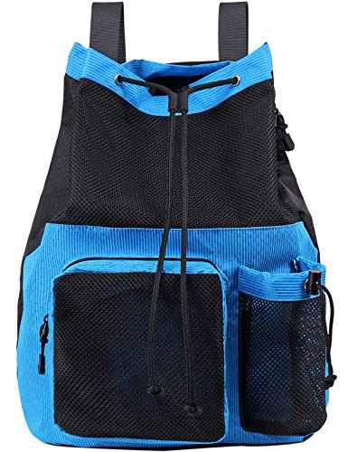 Lohol Mesh Drawstring Backpack with Shoe Bag, Durable Swimming String Sack with Handle for Sports Gym Yoga Beach Travel (Blue)
