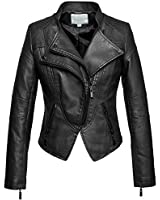 chouyatou Women's Fashion Tailored Zip-Up Faux Leather Quilted Racer Jacket (Large, Black)