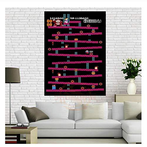 Donkey Kong Retro Nintendo Gaming Poster (Classic Donkey Kong/NES)Decoración para el hogar Cartel de lienzo-60x80cm Sin Marco