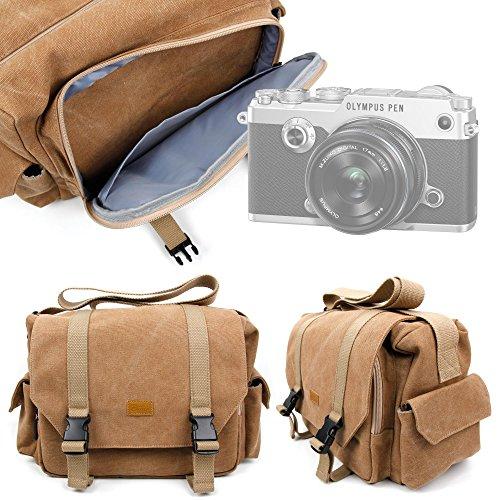 DURAGADGET Bolso Marrón/Canvas para Cámara Fujifilm X-T2 / Olympus OM-D E-M1 Mark II, Pen F/Sony RX10 III, RX1R II Garantía 2 Años - Tamaño Grande