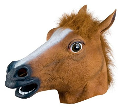 Kingmys Latex Horse Head Mask (Brown Horse Mask)