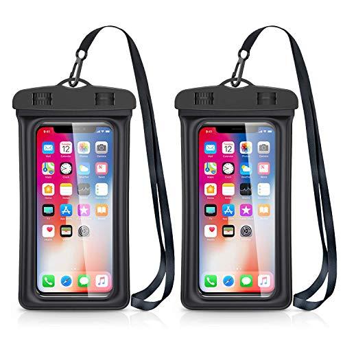 Catynore Pochette Téléphone Étanche Flottante, Certifiée IPX8, Universel Jusqu'à 7 Pouces Idéal Compatible avec iPhone 11/XS Max/SE/8/7-Lot de 2-Noir
