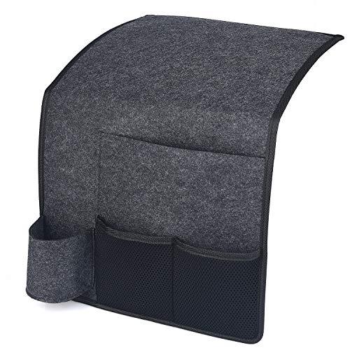 HOGAR AMO Betttasche Filz Bett-Caddy-Organizer mit Flaschenhalter Sofa Hängeaufbewahrungstasche für Handy, iPad, Brille, Fernbedienung 32 x 36cm (Schwarz)