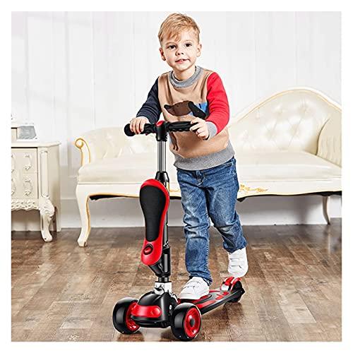 MNYHJDS 2-IN-1 Scooter Scooter YO-YO-YO Slider Ajustable Altura Extra Amplio Asiento extraíble para niños y niños pequeños Niñas o Boys Deck PU Rueda Flash para niños de 3 a 14 años (Rojo) k