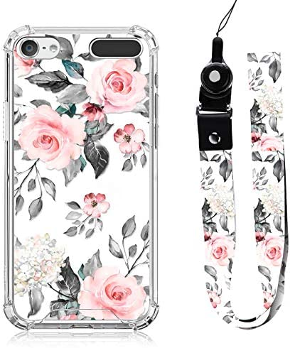 iPod Touch 5 6 7 Case Rose Floral Design with Neck Strap Lanyard for Women Girls Protective product image