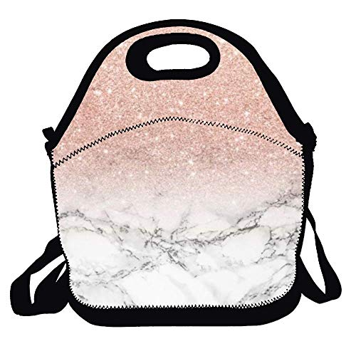 Amuseds Rose Gold Ombre Black Marble-1 Cute Lunch Bag Lunch Tote Lunch Box Handbag For Kids And Adults