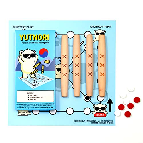 BBL YUTNORI Board Game - Korean Board Game YUNNORI- Traditional Korean Folk Game with Yuts - Traditional Korean Family Game with Woodsticks - Korea YUT Nori Game