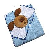 Süßes Babyset ~ Hund blau ~ Kapuzenhandtuch Handtuch Badetuch Waschtuch hellblau