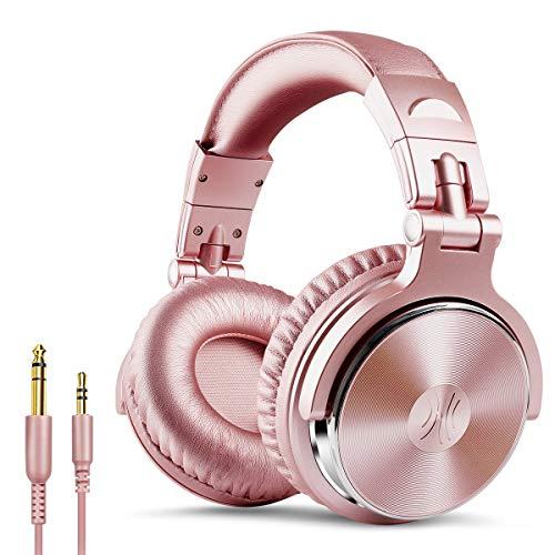 OneOdio DJ用 ヘッドホン 有線 モニターヘッドホン 密閉型 マイク付き Pro10 ピンク