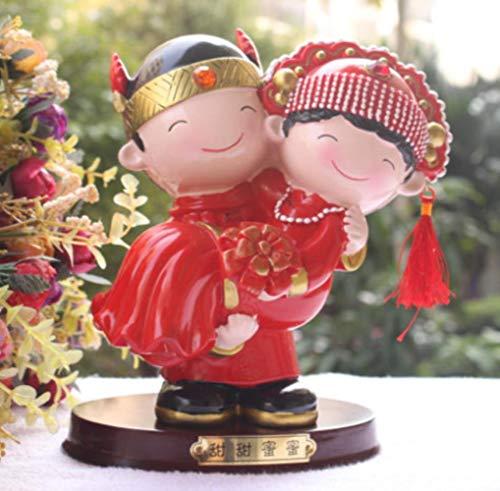 Zoet in zijn arm chinese traditionele stijl bruidstaart topper bruid en bruidegom bruidstaart toppers met geschenken