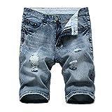 Beeck - Pantalones vaqueros para hombre, con agujeros de verano, color claro azul grisáceo 30