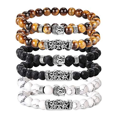 BESTEEL 6 STÜCKE 8 MM Beads Armbänder für Herren Männer Vulkangestein Gelb Tigerauge Armband Weiß Kiefer Buddha Kopf Armband Biker Goth Punk Elastische Armband Set