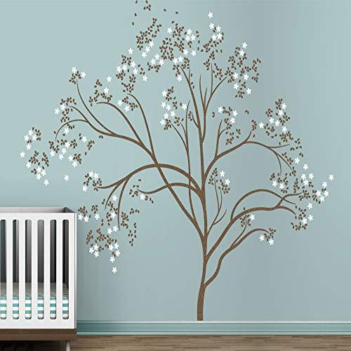 YuanMinglu Cerezo japonés árbol floreciente bebé jardín de Infantes habitación Infantil Pegatina de Pared Arte de Vinilo Flor Blanca 300 cm x 241 cm