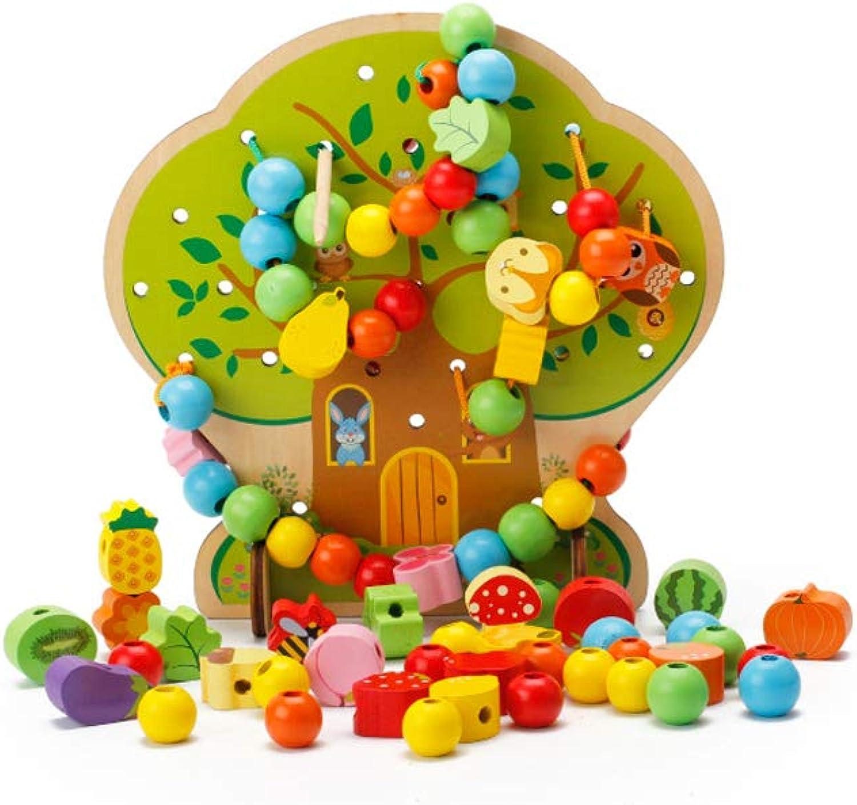 QARYYQ Kinderhaus Aus Holzblcken, Das Perlengebundene Schnur, Perlen, Perlen, Kinderspielzeug Spielzeug
