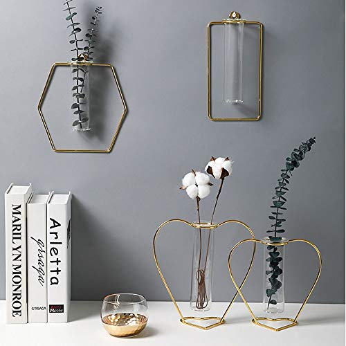 Mädel Goldene Wandbehang Wandbehang Vase Hydroponischen Hintergrund Wand Metall Licht Luxus Wohnzimmer Schlafzimmer (Shape : Diamant)