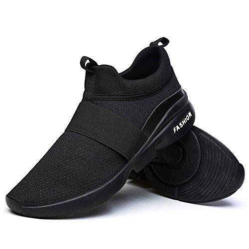 Klassische Schuhe für Herren und Damen, bequem, atmungsaktiv, ohne Leder, leger, leichte Schuhe, Schwarz - Schwarz - Größe: 41 EU