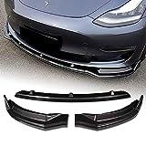 EPARTS 3 Pieces Style Carbon Fiber Look Front Bumper Lip Spoiler Splitter Side Body Kit Trim Protection Compatible with 2017-2020 Tesla Model 3