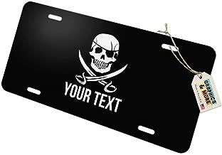 Personalized Custom Skull and Crossbones 1 Line Novelty Metal Vanity Tag License Plate