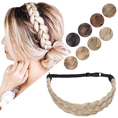 Braided Headband Hair Braid Hair Band Braided Hair Band Synthetic Fake Hair Braids Headbands Wide Chunky Plaited Hairband Accessory Elastic Stretch Hairpiece For Women L 5 Strands 50g #18/613 Blonde