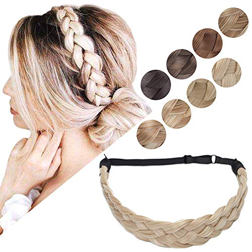 Braided Headband Hair Braid Hair Band Braided Hair Band Synthetic Fake Hair Braids Headbands Wide Chunky Plaited Hairband Accessory Elastic Stretch Hairpiece For Women L 5 Strands 50g #18/613 Blonde