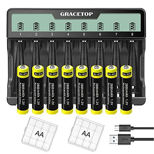 Cargador universal de 8 ranuras para cargador individual para baterías recargables Ni-MH AA AAA, con pantalla LCD y micro USB y tipo C, cargador + 2800 mAh AA pilas recargables de 8 unidades