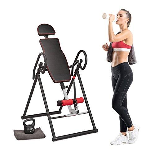 Relaxdays Tabla Inversora para Espalda con 4 Posiciones, Fitness, Negro y Rojo, 69.5 x 125 cm