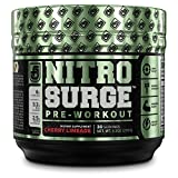 NITROSURGE Pre Workout Supplement - Endless Energy, Instant Strength Gains, Clear Focus, Intense Pumps - Nitric Oxide Booster & Powerful Preworkout Energy Powder - 30 Servings, Cherry Limeade