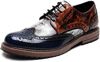 QinMei Zhou Business Oxfords for Men Dress Shoes Lace up Patent Leather Pointed Toe Brogue Carving Stitched Multicolor Two Tones Non-Slip (Color : Blue, Size : 7 UK)